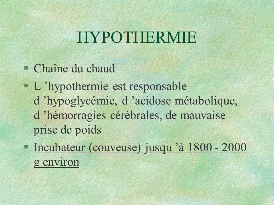 HYPOTHERMIE Chaîne du chaud