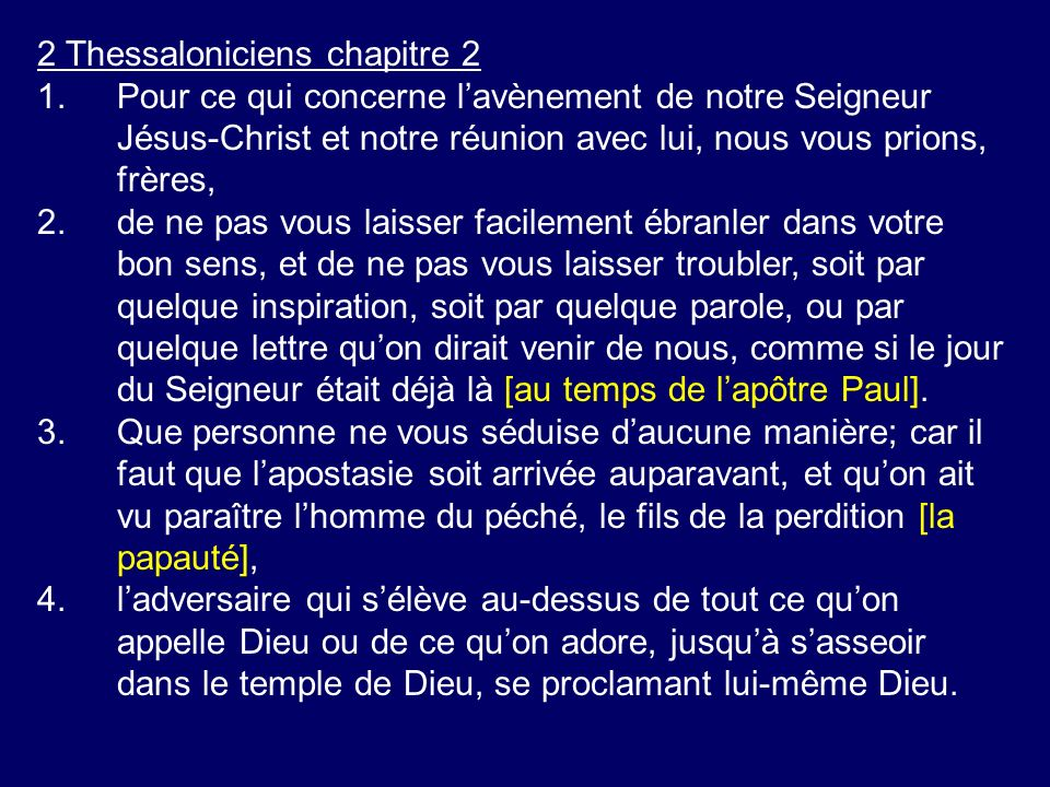2 Thessaloniciens chapitre 2