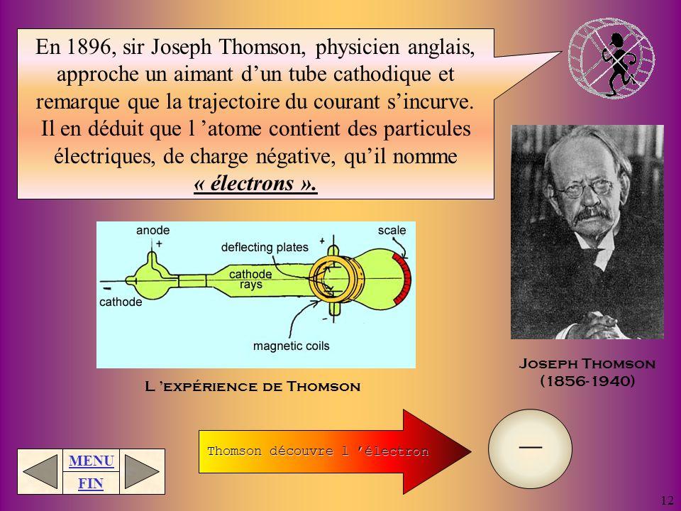 En 1896, sir Joseph Thomson, physicien anglais, approche un aimant d'un tube cathodique et remarque que la trajectoire du courant s'incurve.