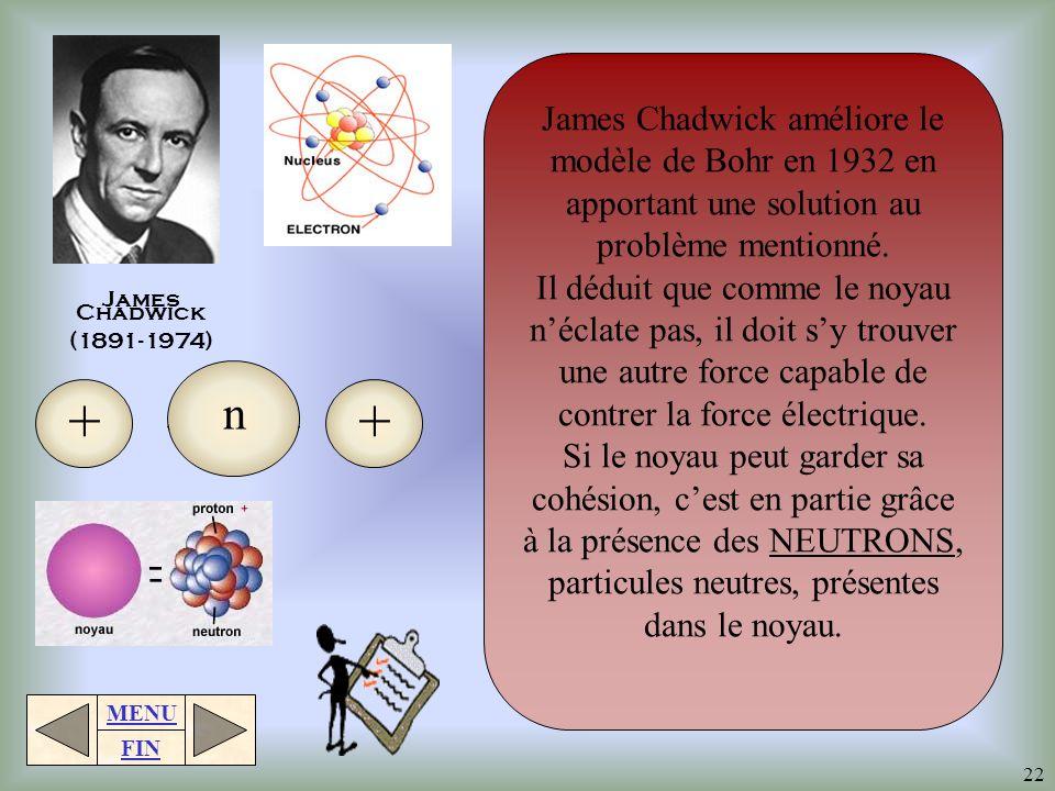James Chadwick améliore le modèle de Bohr en 1932 en apportant une solution au problème mentionné.