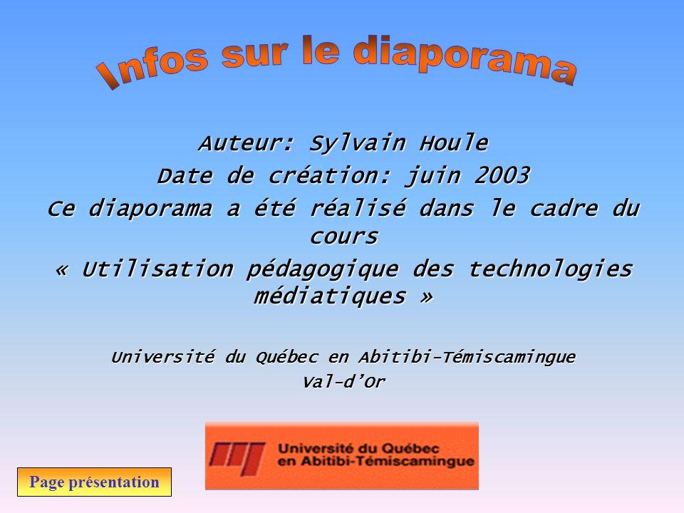 Infos sur le diaporama Auteur: Sylvain Houle