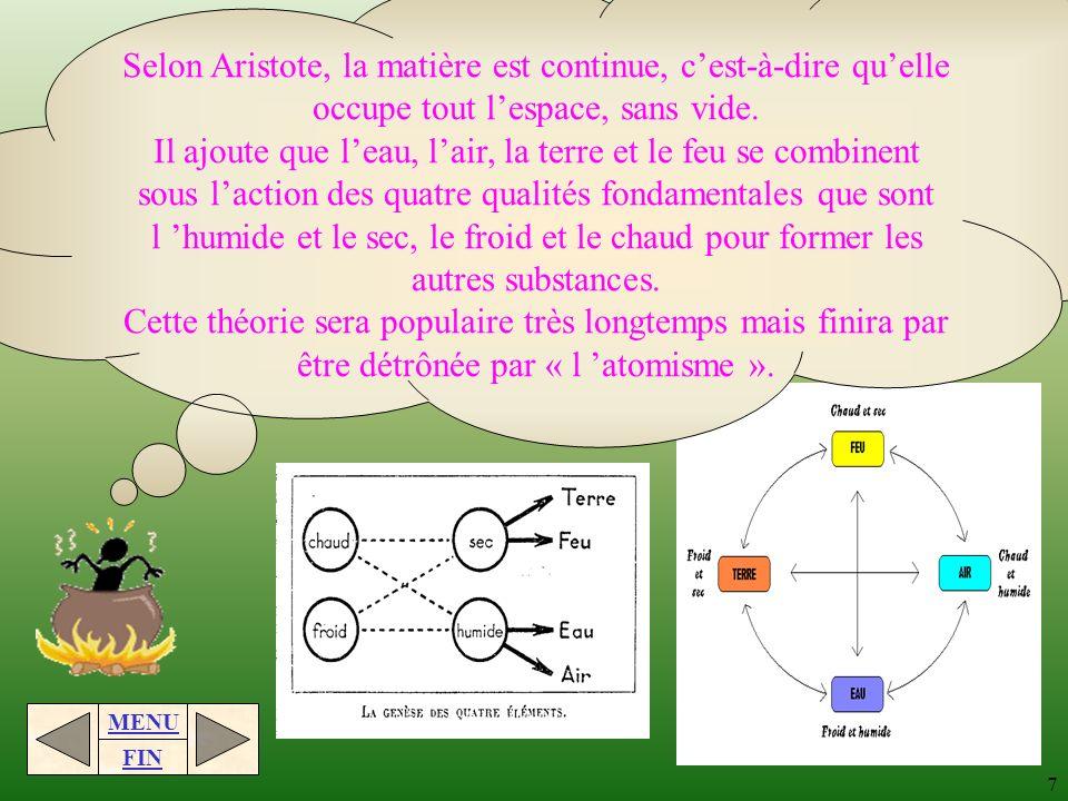 Selon Aristote, la matière est continue, c'est-à-dire qu'elle occupe tout l'espace, sans vide.