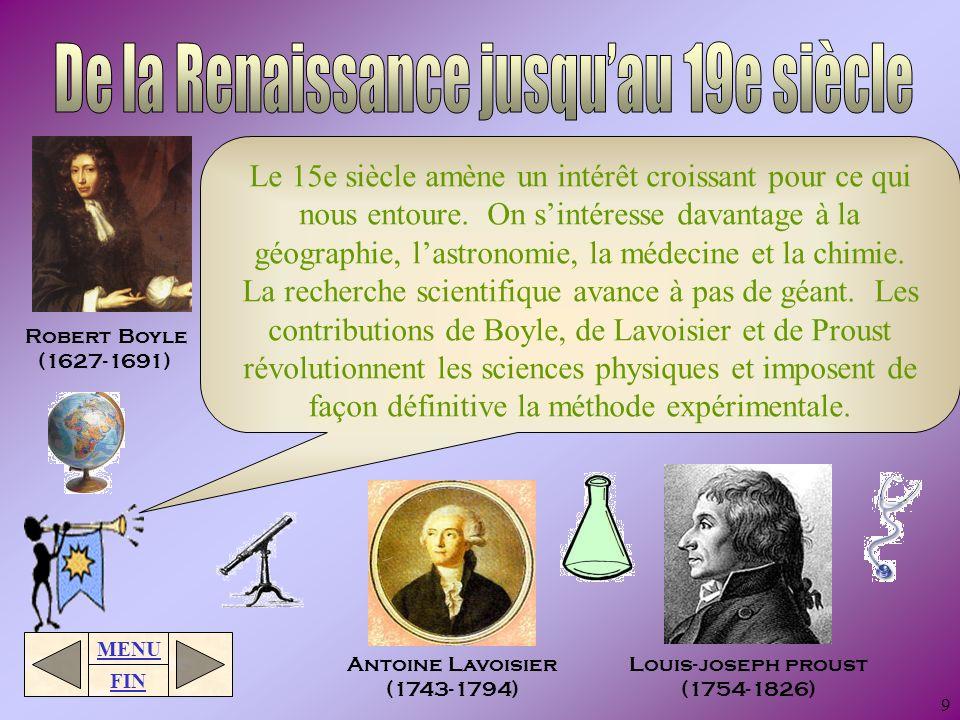 De la Renaissance jusqu'au 19e siècle