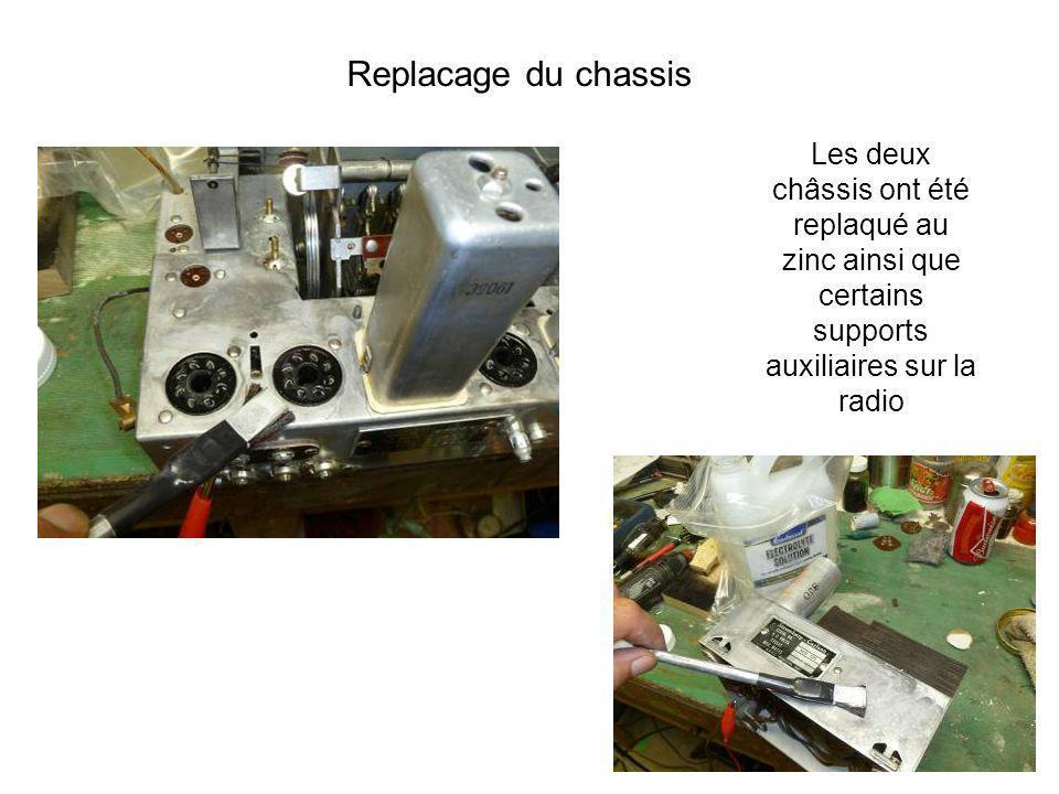 Replacage du chassis Les deux châssis ont été replaqué au zinc ainsi que certains supports auxiliaires sur la radio.