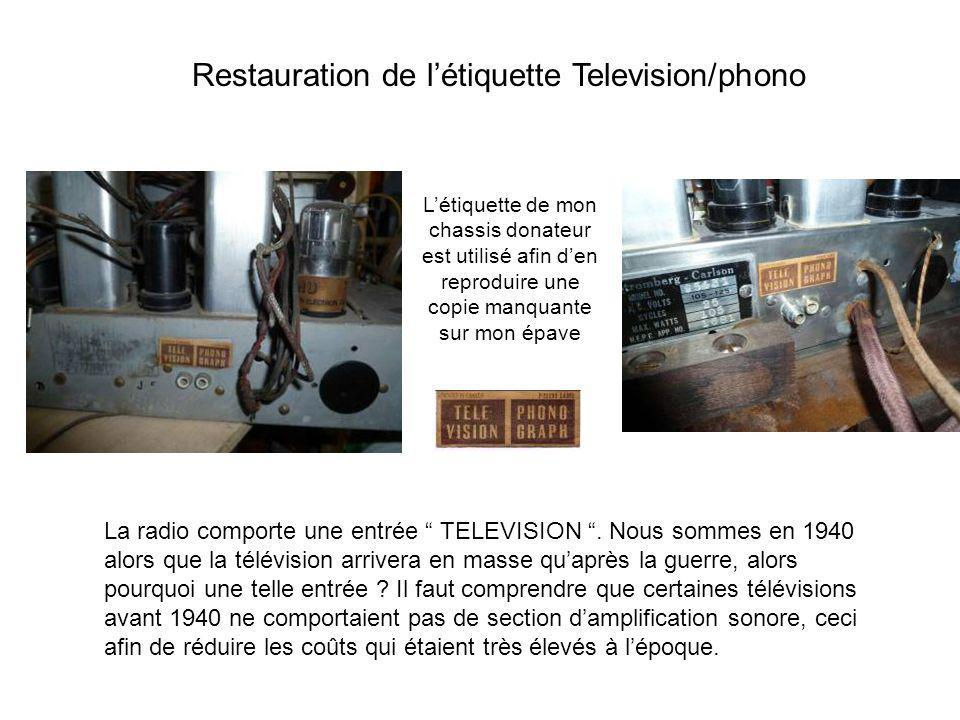 Restauration de l'étiquette Television/phono