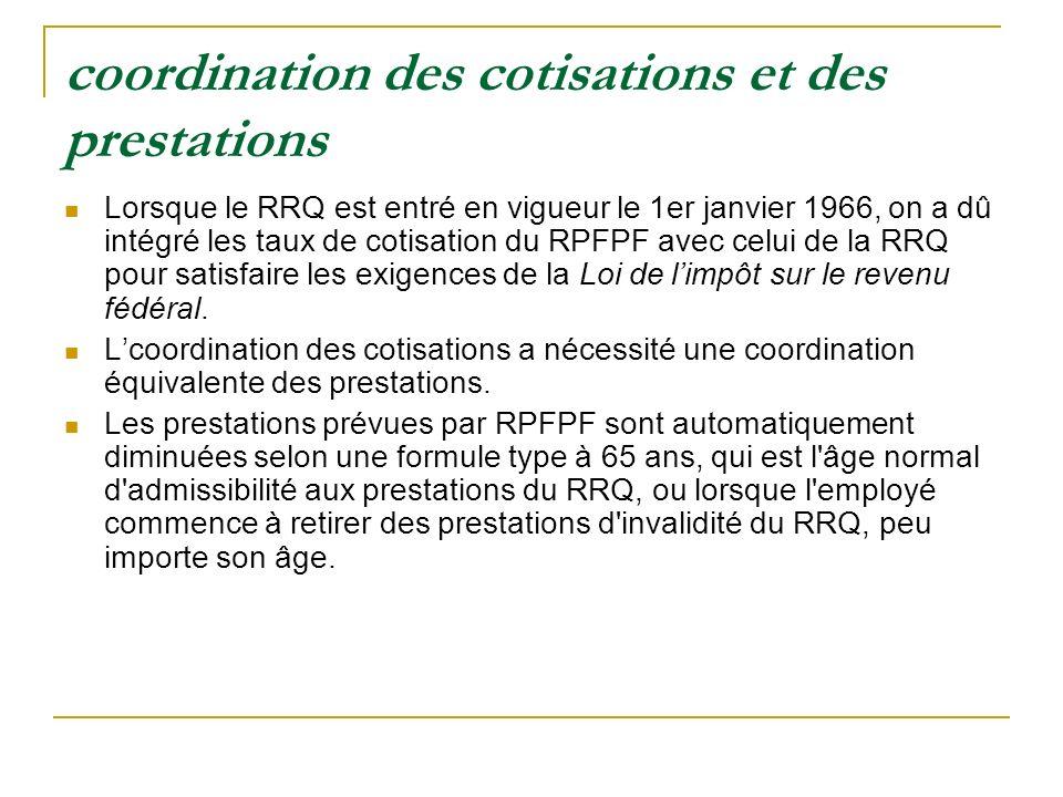 coordination des cotisations et des prestations