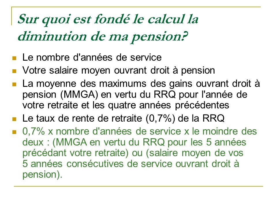 Sur quoi est fondé le calcul la diminution de ma pension