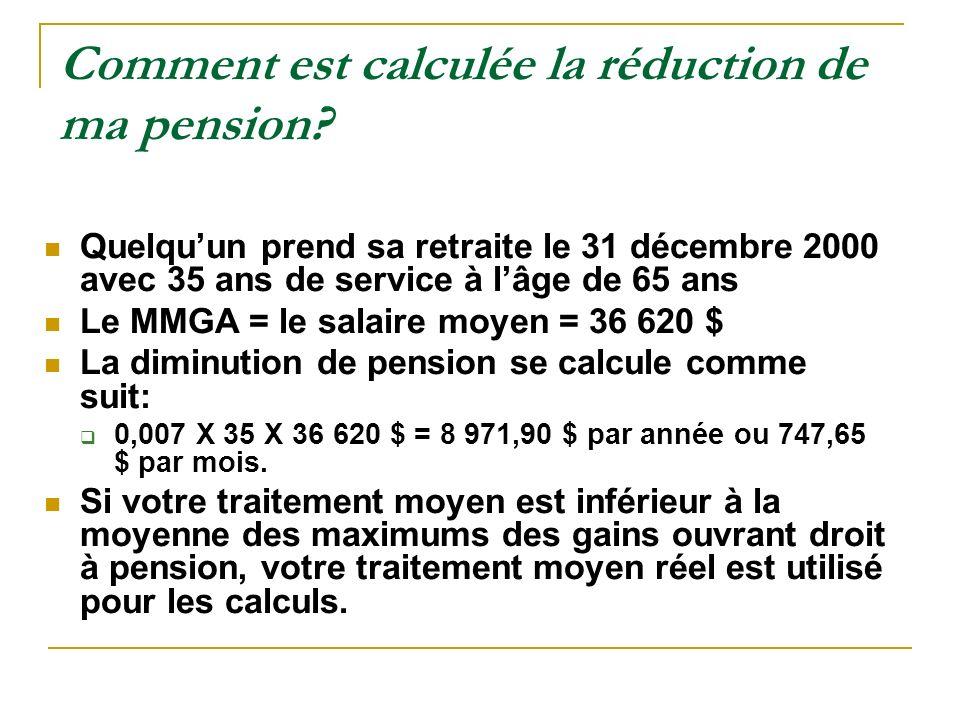 Comment est calculée la réduction de ma pension