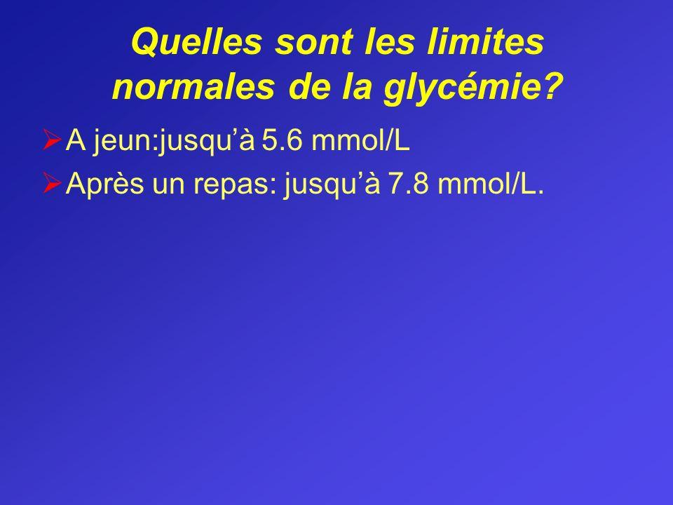 Quelles sont les limites normales de la glycémie