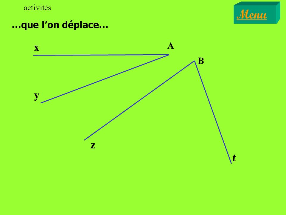 activités Menu …que l'on déplace… A y x t B z