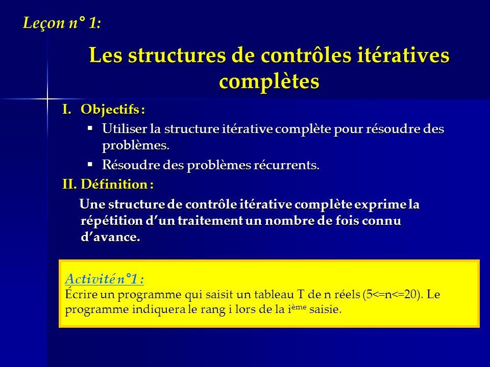 Les structures de contrôles itératives complètes
