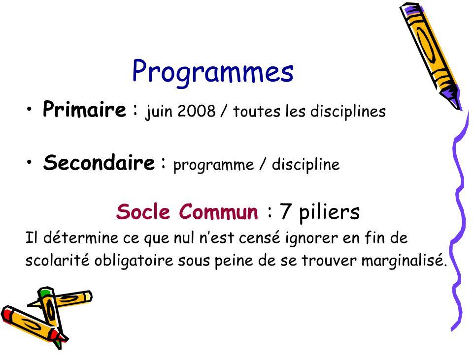 Programmes Primaire : juin 2008 / toutes les disciplines