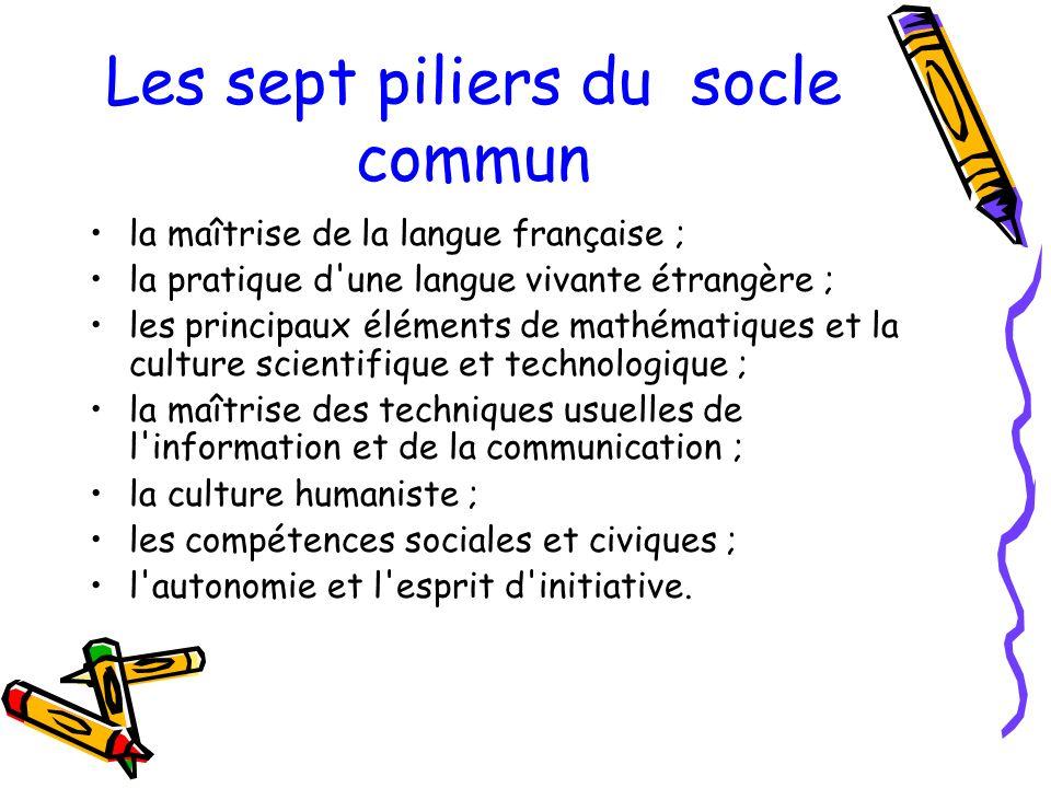 Les sept piliers du socle commun