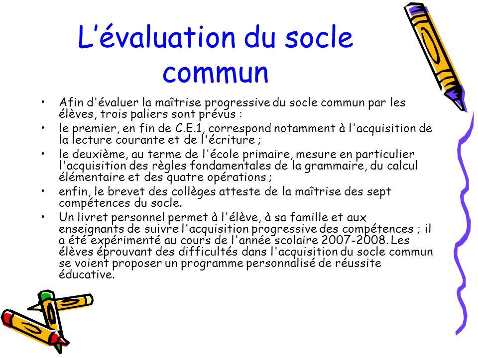 L'évaluation du socle commun