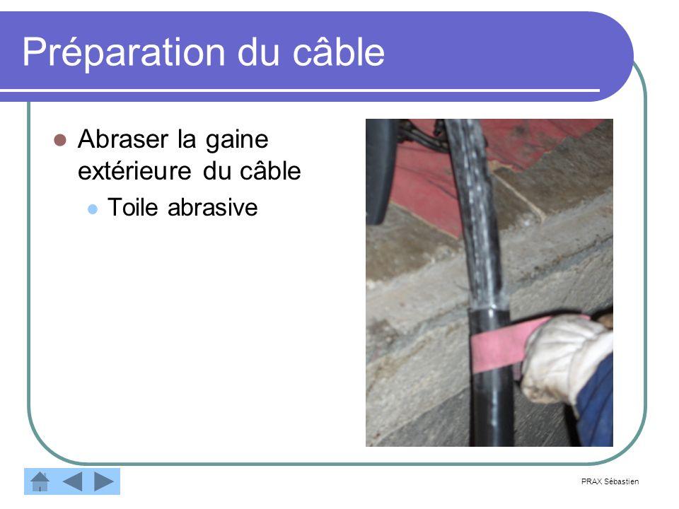 Préparation du câble Abraser la gaine extérieure du câble