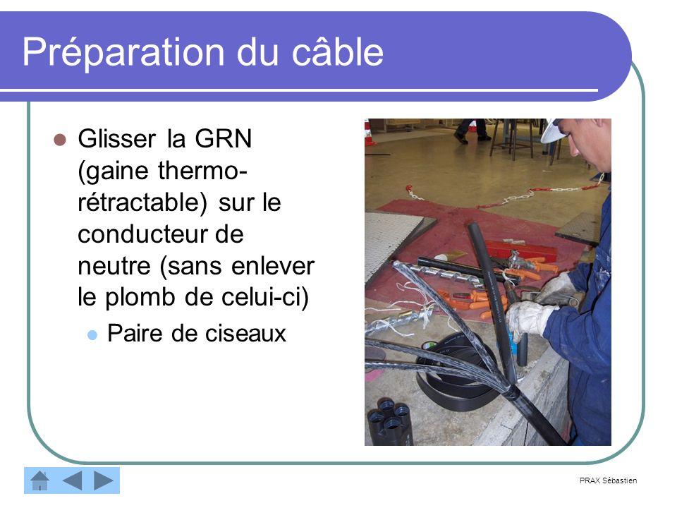 Préparation du câbleGlisser la GRN (gaine thermo-rétractable) sur le conducteur de neutre (sans enlever le plomb de celui-ci)