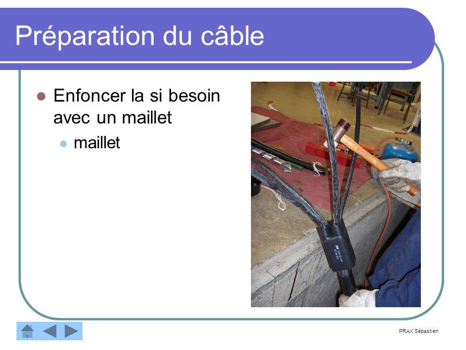 Préparation du câble Enfoncer la si besoin avec un maillet maillet