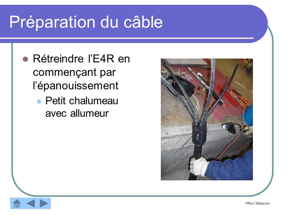 Préparation du câbleRétreindre l'E4R en commençant par l'épanouissement. Petit chalumeau avec allumeur.