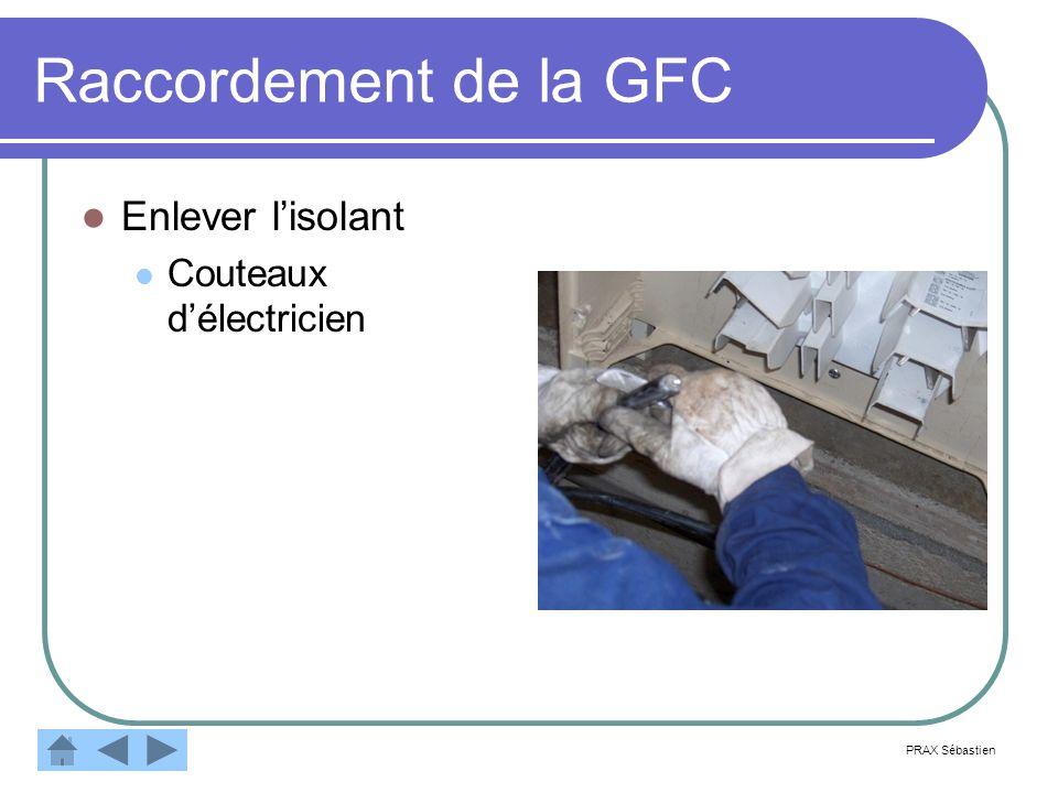 Raccordement de la GFC Enlever l'isolant Couteaux d'électricien