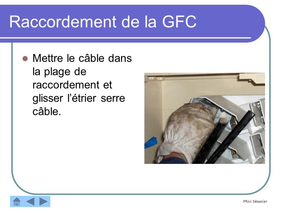Raccordement de la GFC Mettre le câble dans la plage de raccordement et glisser l'étrier serre câble.