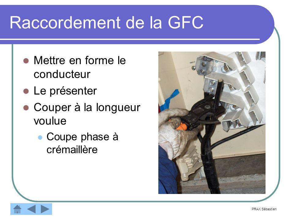 Raccordement de la GFC Mettre en forme le conducteur Le présenter
