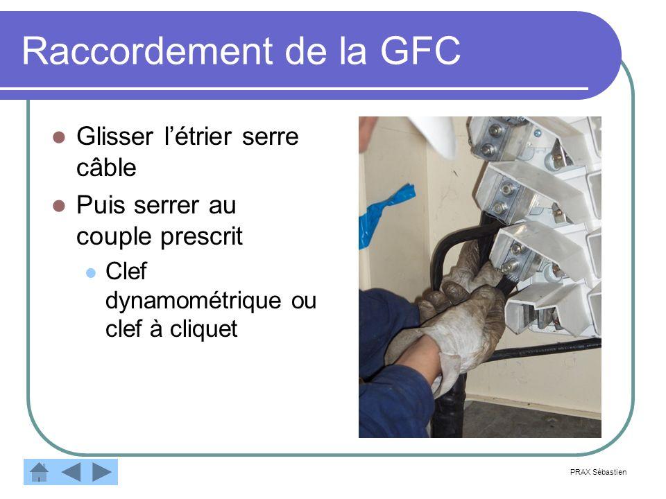 Raccordement de la GFC Glisser l'étrier serre câble