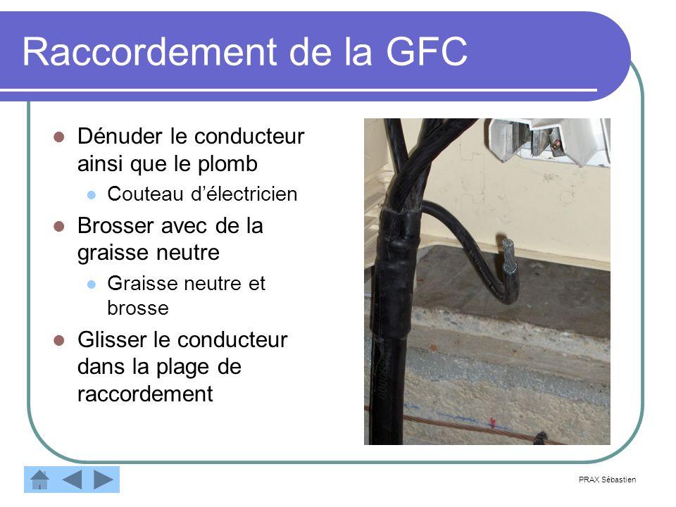 Raccordement de la GFC Dénuder le conducteur ainsi que le plomb