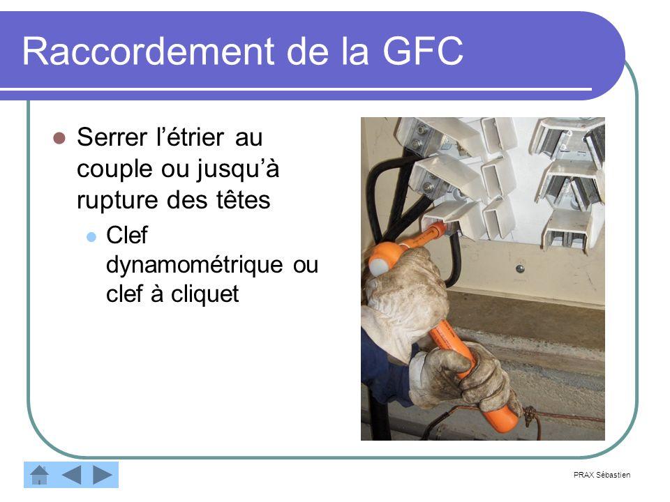Raccordement de la GFC Serrer l'étrier au couple ou jusqu'à rupture des têtes. Clef dynamométrique ou clef à cliquet.