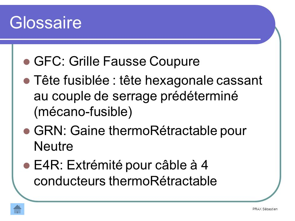 Glossaire GFC: Grille Fausse Coupure