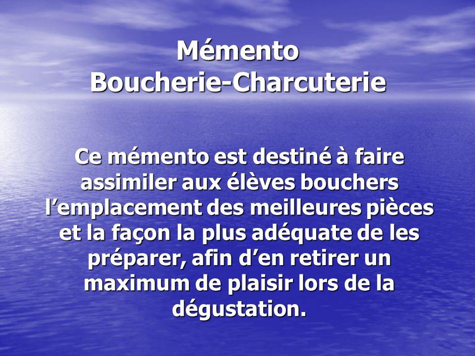 Mémento Boucherie-Charcuterie