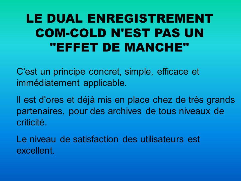 LE DUAL ENREGISTREMENT COM-COLD N EST PAS UN EFFET DE MANCHE