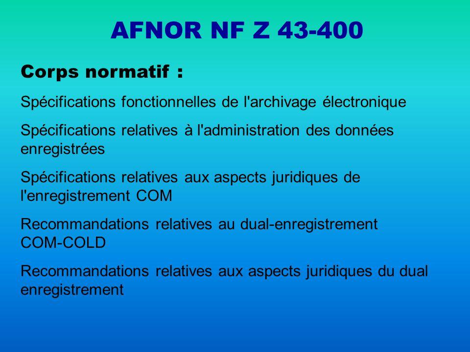 AFNOR NF Z 43-400 Corps normatif :