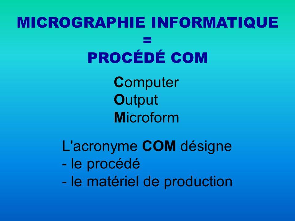 MICROGRAPHIE INFORMATIQUE = PROCÉDÉ COM