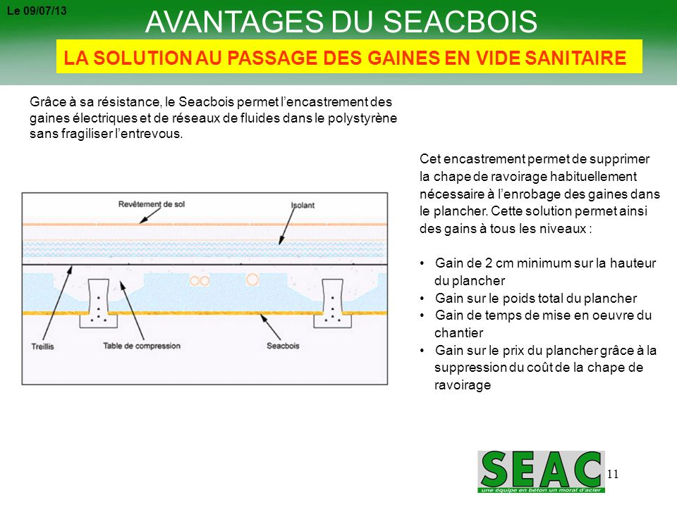 Le 09/07/13 AVANTAGES DU SEACBOIS. LA SOLUTION AU PASSAGE DES GAINES EN VIDE SANITAIRE.