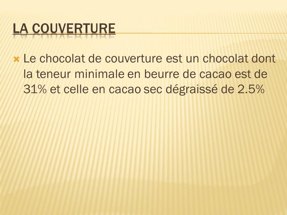 La couverture Le chocolat de couverture est un chocolat dont la teneur minimale en beurre de cacao est de 31% et celle en cacao sec dégraissé de 2.5%