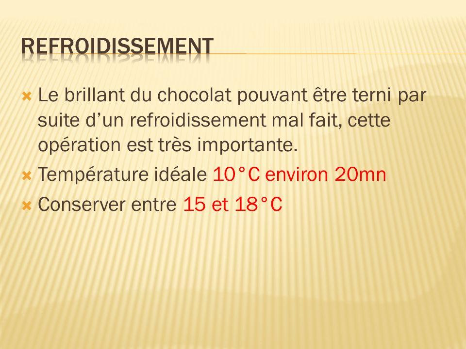 Refroidissement Le brillant du chocolat pouvant être terni par suite d'un refroidissement mal fait, cette opération est très importante.