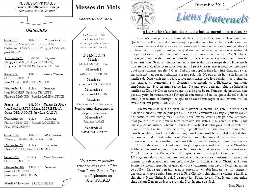 Liens fraternels Messes du Mois Décembre 2012