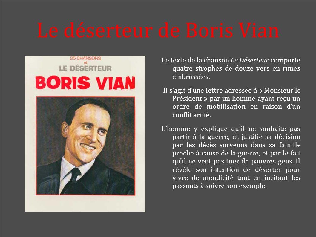 Le déserteur de Boris Vian