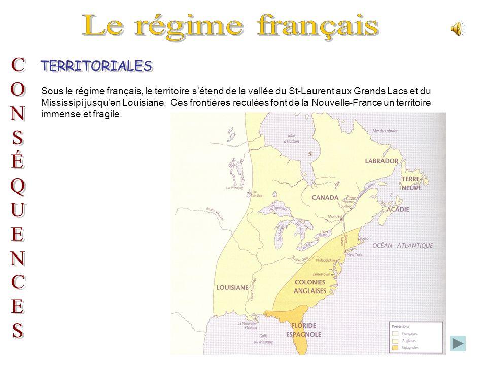 Le régime français TERRITORIALES C O N S É Q U E