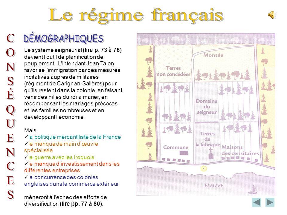 Le régime français DÉMOGRAPHIQUES C O N S É Q U E