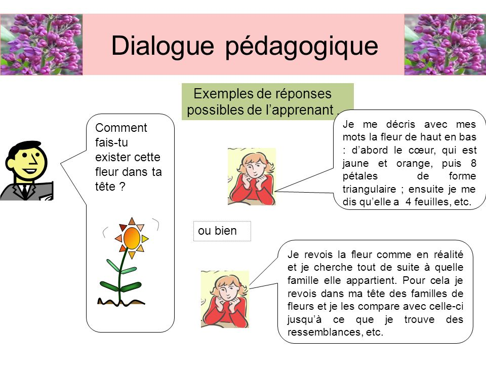 Dialogue pédagogique Exemples de réponses possibles de l'apprenant ...