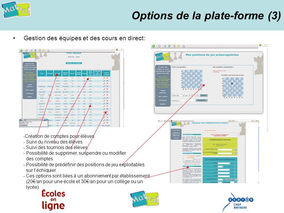 Options de la plate-forme (3)
