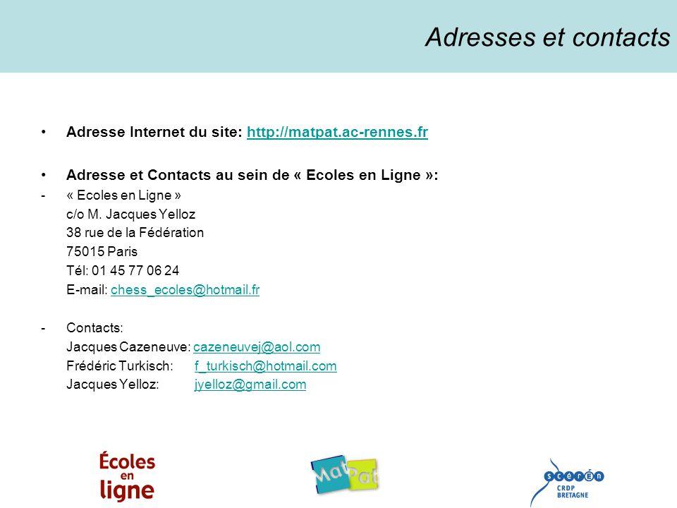 Adresses et contacts Adresse Internet du site: http://matpat.ac-rennes.fr. Adresse et Contacts au sein de « Ecoles en Ligne »: