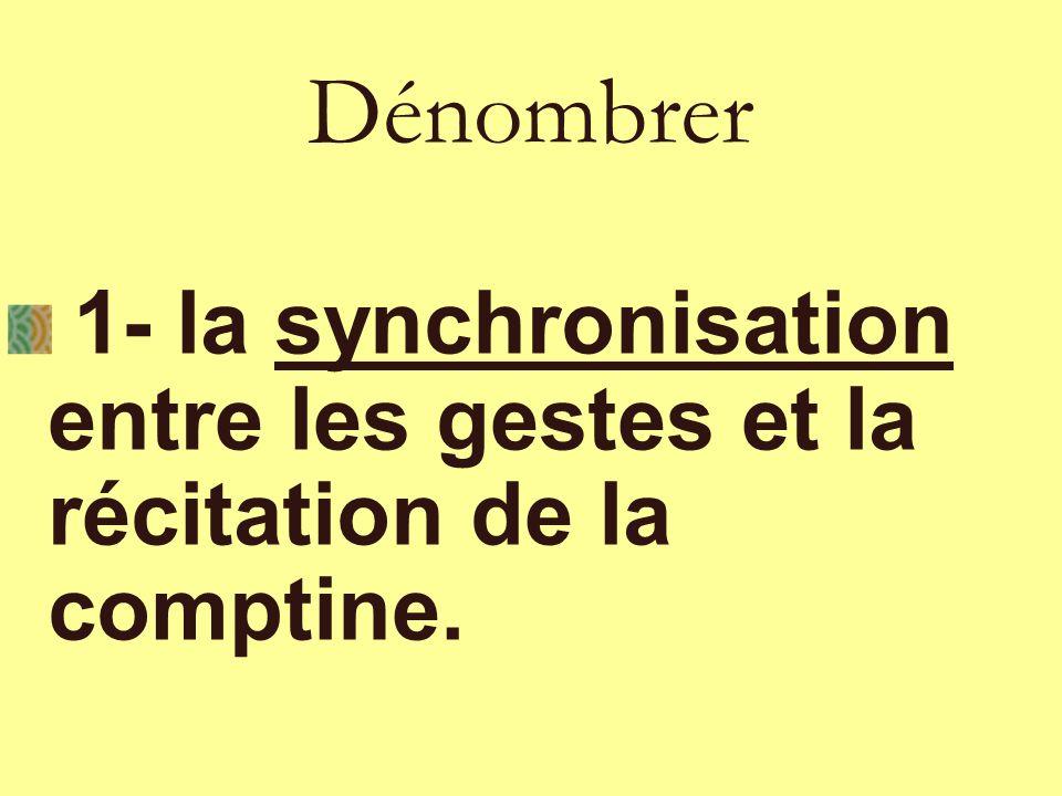Dénombrer 1- la synchronisation entre les gestes et la récitation de la comptine.
