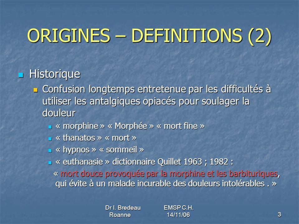ORIGINES – DEFINITIONS (2)