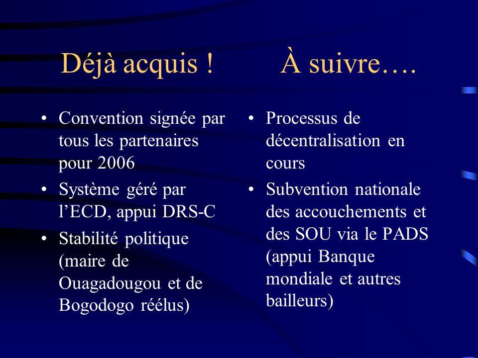 Déjà acquis ! À suivre…. Convention signée par tous les partenaires pour 2006. Système géré par l'ECD, appui DRS-C.
