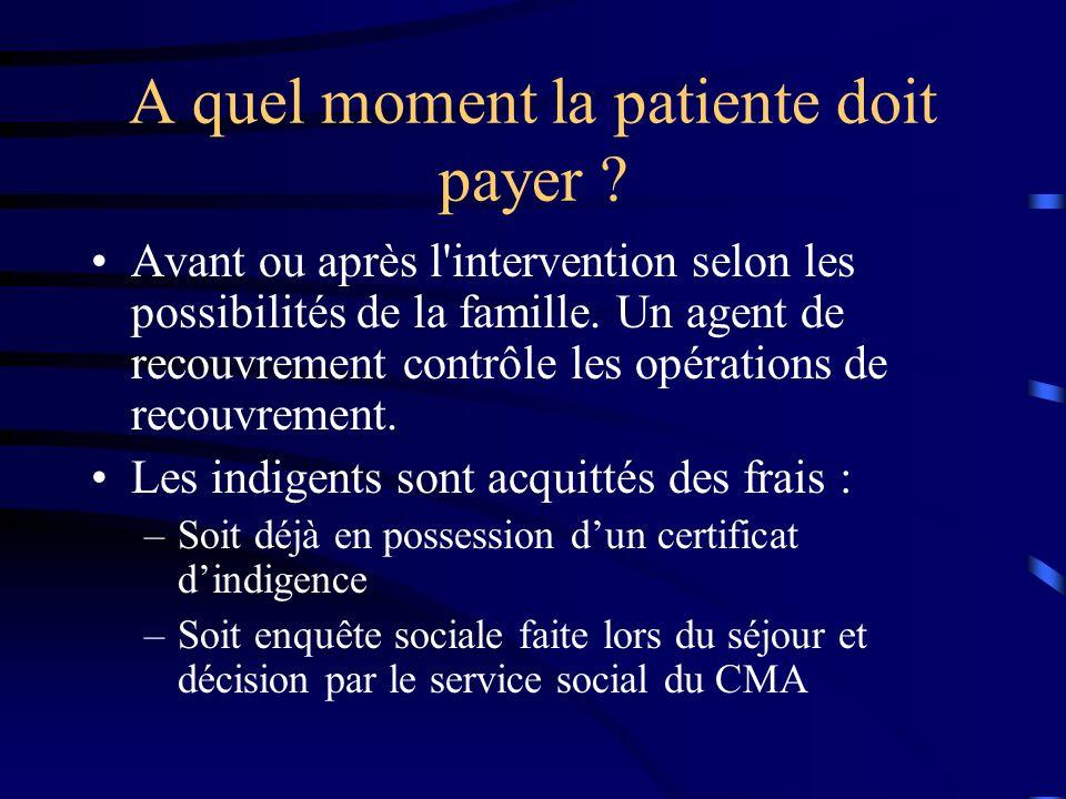 A quel moment la patiente doit payer