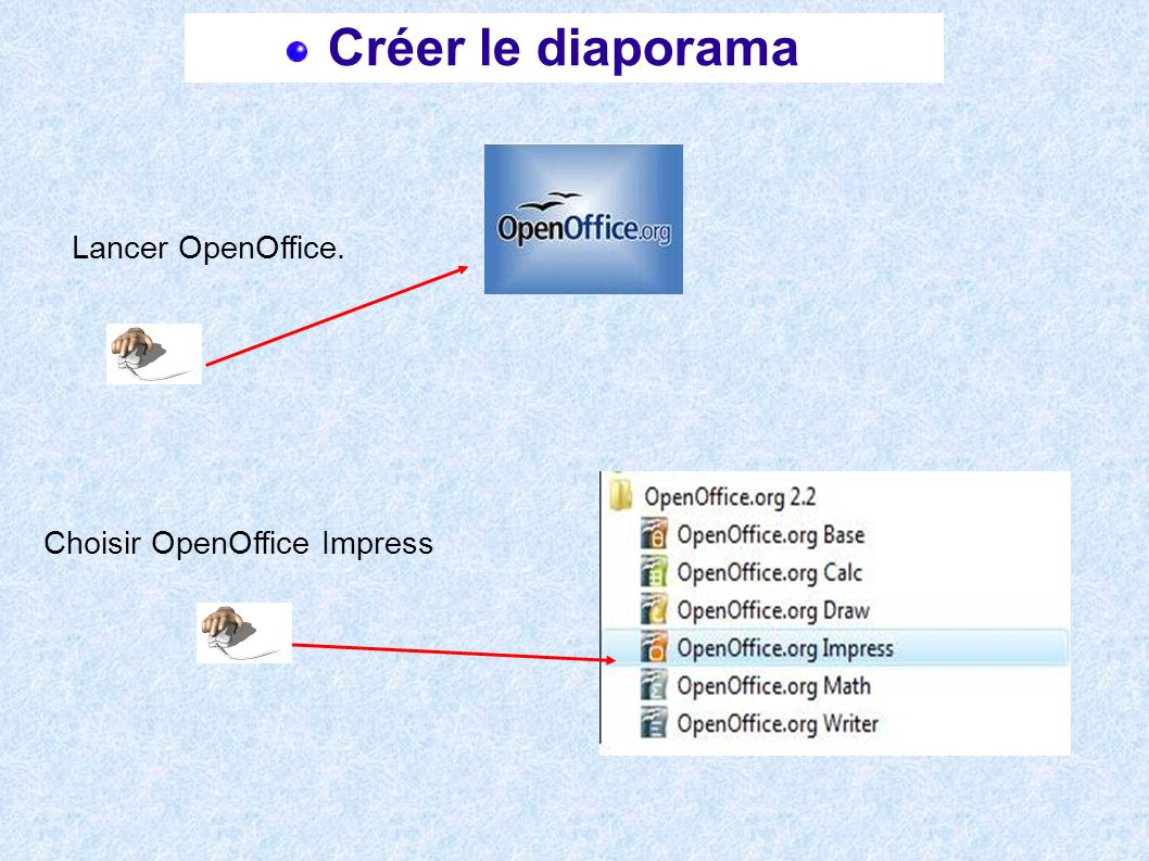 Créer le diaporama Lancer OpenOffice. Choisir OpenOffice Impress