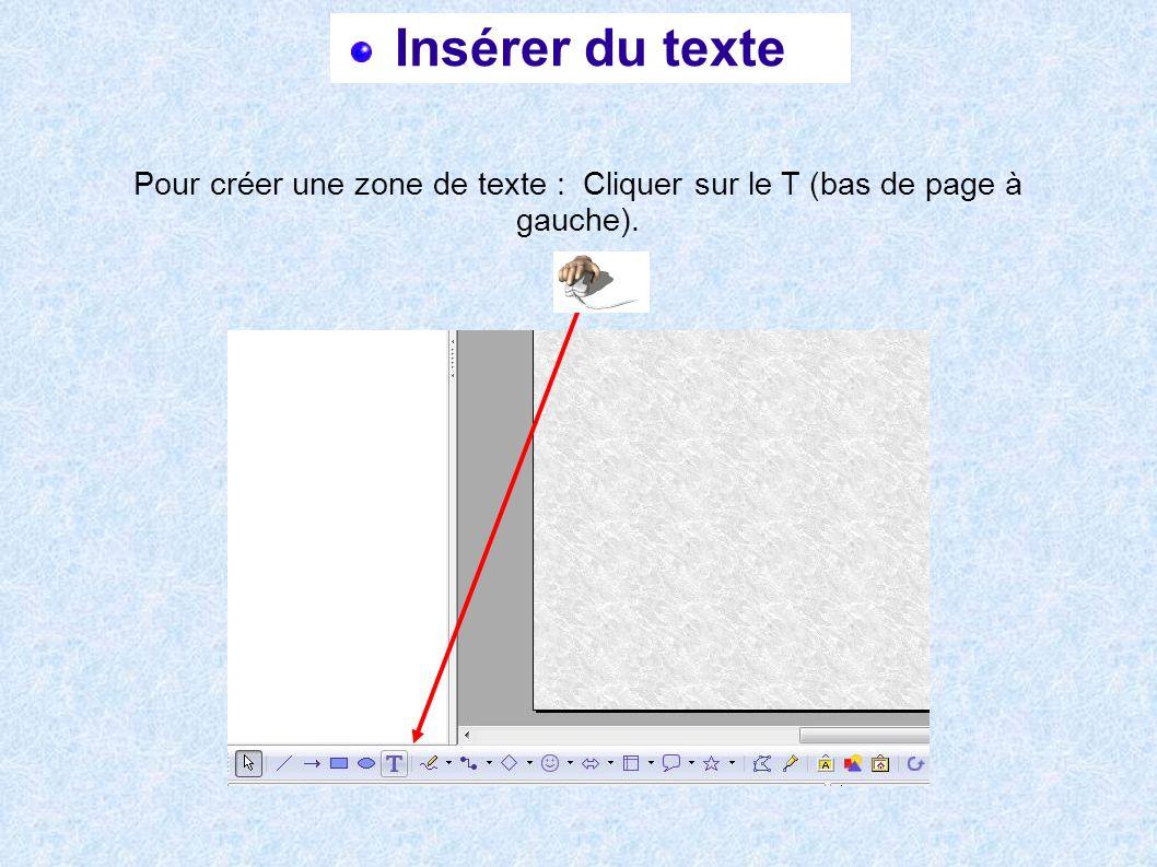 Insérer du texte Pour créer une zone de texte : Cliquer sur le T (bas de page à gauche).