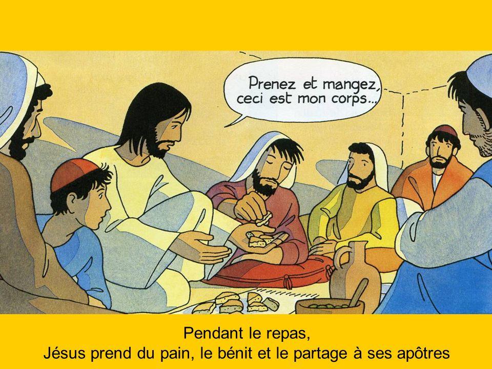 Jésus prend du pain, le bénit et le partage à ses apôtres